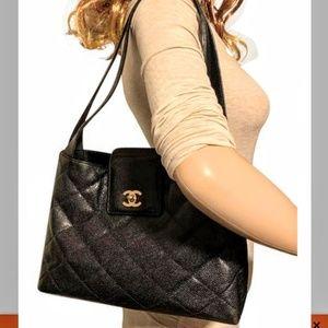 ChanelShoulder Caviar Leather Hobo Bag